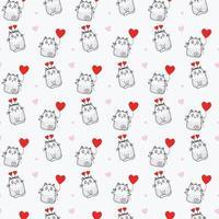padrões sem emenda. férias e gatos bonitos com um balão vermelho e chifres em forma de coração em um fundo branco com corações rosa. vetor. linha, esboço. para feriados e namorados vetor