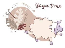 hora de ioga. uma ovelha brincalhona e fofa fazendo ioga, em pé em um asana, fitness e alongamento, um hobby. ioga de ovelhas em um fundo decorativo com decoração e folhas tropicais. vetor. isolado no branco vetor