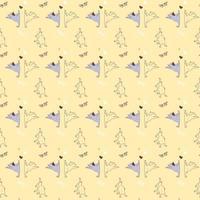 padrões sem emenda. ioga para animais de estimação. cães fofos e engraçados fazem exercícios e alongamento, ficam em pé em um asana e meditam. ilustração vetorial em um fundo amarelo claro. ioga de cachorro vetor
