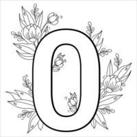 flor número zero. padrão decorativo 0 com flores, tulipas, botões e folhas. ilustração vetorial isolada no fundo branco. linha, esboço. para cartões comemorativos, impressão, design e decoração vetor