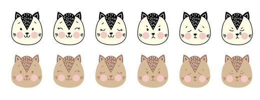 retratos de animais simples e fofos. gato. um conjunto de emoções - alegria, raiva, sono, choro. rosto de gatos - desenho a cores e a preto e branco. para decoração infantil, impressão, têxteis. ilustração vetorial vetor