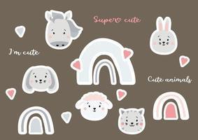 adesivos bonitos de retratos de animais e arco-íris. Autocolantes de estilo escandinavo - uma lebre e uma ovelha, um cavalo e um gato, um cão e um arco-íris com um coração. Super fofo. conjunto de ícones ilustração vetorial isolada vetor