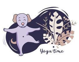 animais de estimação da ioga. lindo cachorro vai para esportes e alongamentos, fica em um asana levantando uma pata sobre um fundo azul decorativo com decoração e folhas tropicais. vetor. passatempo de ioga e conceito de tempo. design plano vetor