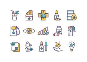 conjunto de ícones de cores rgb de consumo de cannabis vetor