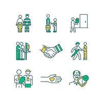 conjunto de ícones de cores rgb de serviços sociais vetor