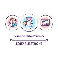 ícone de conceito de farmácia online registrada vetor