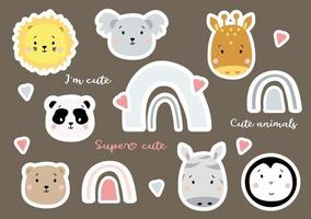 conjunto de bonitos arco-íris e animais tropicais - pinguim, leão e coala, girafa e panda, urso e zebra. coleção de crianças de adesivos de vetor. isolado em um fundo com corações. elemento para design