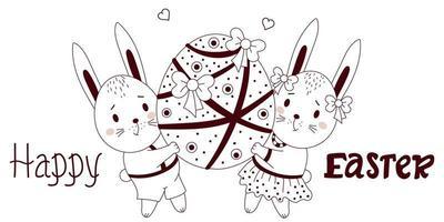 Feliz Páscoa - cartão com lindos coelhinhos da Páscoa. um menino e uma menina estão segurando um grande ovo de Páscoa com decoração e fitas. ilustração vetorial, esboço. para design, decoração, cartões postais e impressão vetor