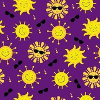 padrão sem emenda. sol amarelo bonito em óculos de sol sorrindo. e um doce sol de olhos fechados. vetor. para design, decoração, embalagem, têxtil, vetor