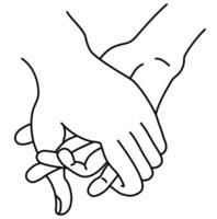 mão feminina e masculina. o conceito é ternura, amor e paixão. isolado no branco. mulher e homem de mãos dadas. desenho de mão linear. contorno. ilustração vetorial vetor
