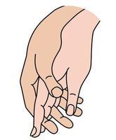 mão feminina e masculina. conceito - ternura, amor e paixão. desenho de mão de cor linear. isolado no branco. mulher e homem de mãos dadas. ilustração vetorial vetor