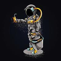 astronauta comprando ilustração de arte vetor