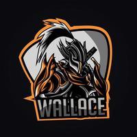 ilustração da arte do logotipo do guerreiro esport vetor