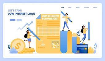 pegue um formulário de contrato de empréstimo com juros baixos. programa de parcelamento de cartão de crédito. o conceito de ilustração vetorial pode ser usado para página de destino, modelo, ui ux, web, aplicativo móvel, anúncios de cartaz, banner, site, folheto vetor