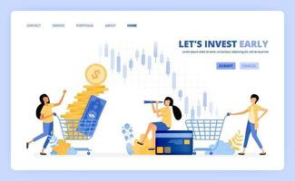 as pessoas compram instrumentos de investimento em mercados monetários, bolsas de valores, fundos mútuos. o conceito de ilustração vetorial pode ser usado para página de destino, modelo, interface do usuário, web, aplicativo móvel, anúncios de pôster, banner, site vetor