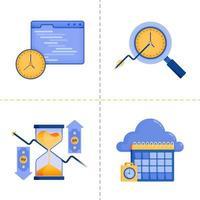 designs de símbolo de logotipo para tempo de investimento, tecnologia 4.0, negócios, programação de calendário em nuvem. O modelo de pacote de ícone plano pode ser usado para página de destino, web, aplicativo móvel, pôster, banner, site, gráfico vetor