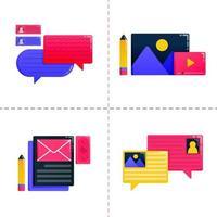 ícone de design de logotipo de educação, aprendizagem e bolsa de estudos com bate-papo e comunicação de balão. O modelo de pacote de ícones pode ser usado para página de destino, ui ux, web, aplicativo móvel, anúncios de pôster, banner, site, folheto vetor