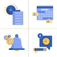 designs de símbolo de logotipo para tempo, negócios, tecnologia 4.0, lista de verificação, agenda e cronograma. O modelo de pacote de ícone plano pode ser usado para página de destino, web, aplicativo móvel, pôster, banner, site, gráfico vetor