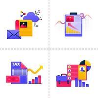 ícone de design de logotipo com tema de tecnologia de negócios e trabalho financeiro com ilustrações de gráficos e documentos. O modelo de pacote de ícones pode ser usado para página de destino, web, aplicativo móvel, pôster, banner, site