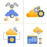 designs de símbolo de logotipo para tempo, tecnologia 4.0, negócios, serviço de rede em nuvem, tempo limite do servidor. O modelo de pacote de ícone plano pode ser usado para página de destino, web, aplicativo móvel, pôster, banner, site, gráfico