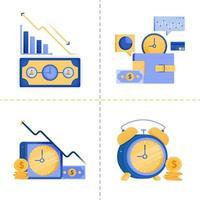 Projetos de símbolo de logotipo para tempo é dinheiro, negócios, tecnologia 4.0, financeiro, investimento. O modelo de pacote de ícone plano pode ser usado para página de destino, web, aplicativo móvel, pôster, banner, site, gráfico vetor
