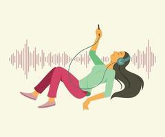 mulher ouvindo e flutuando no espaço com plano de fundo padrão de onda sonora. vetor