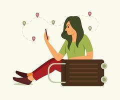 mulher pesquisando informações de viagens no celular vetor