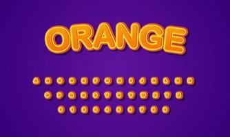 alfabeto fonte laranja vetor