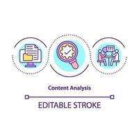 ícone do conceito de análise de conteúdo vetor