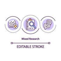 ícone de conceito de pesquisa mista vetor