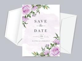 modelo de cartão de convite de casamento lindo floral desenhado à mão salvar a data vetor