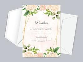 modelo de cartão de recepção de casamento lindo floral desenhado à mão vetor