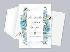 modelo de cartão de convite de casamento lindo floral desenhado à mão vetor