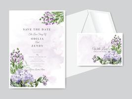 Conjunto de modelo de cartão de convite de casamento lindo floral desenhado à mão vetor