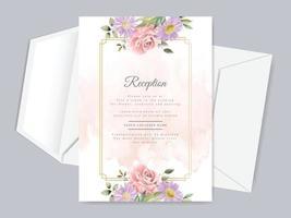 modelo de cartão de convite de casamento desenhado à mão floral lindo vetor