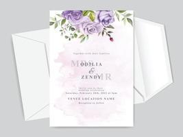 modelo de cartão de convite de casamento com lindas flores florais desenhadas à mão vetor