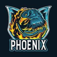 a fênix da águia de fogo como logotipo do e-sport vetor