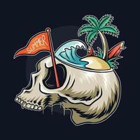 caveira com tema de verão com cena de praia na cabeça vetor
