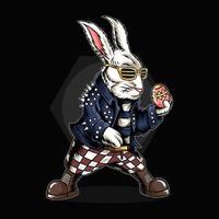 o coelhinho da Páscoa segurando ovos e vestindo uma jaqueta de rocker vetor