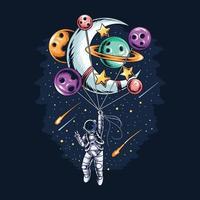 astronauta voando segurando balões do planeta e da lua vetor