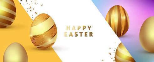 modelo de plano de fundo de Páscoa com ovos de ouro premium de luxo. vetor