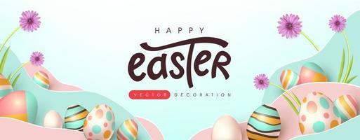modelo de fundo de banner de páscoa com ovos coloridos vetor