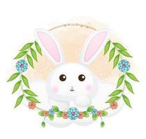 coelhinho fofo na nuvem com ilustração floral dos desenhos animados. animais com coleção floral