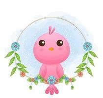 passarinho bonito com ilustração floral dos desenhos animados. animais com coleção floral