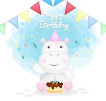 feliz aniversário hipopótamo personagem de desenho animado vetor