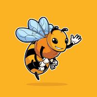 Mascote de inseto de abelha vetor