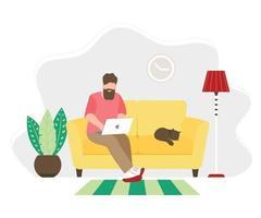 homem trabalhando em casa sentado em um sofá vetor