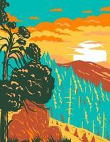 monte shasta e rocha piloto da trilha da crista do pacífico no monumento nacional cascade-siskiyou localizado na arte de pôster wpa da califórnia