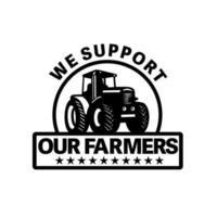 Trator agrícola arando o campo com palavras que apoiamos nossos agricultores definidas dentro do círculo feito em estilo retro