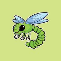 Mascote de inseto de libélula vetor